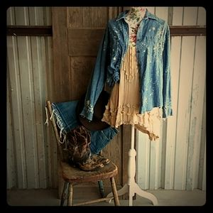 Upcycled Bleached Denim Shirt